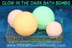 Bath bomb recipe that glows in the dark and has a surprise inside