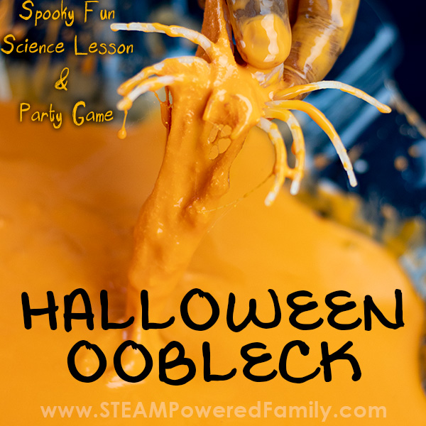Halloween oobleck recipe with spiders, science and a great Halloween party game