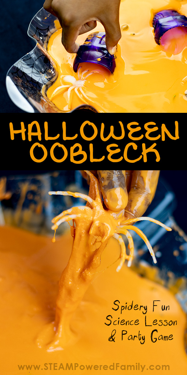 Halloween oobleck recipe with science lesson and a fun Halloween Party Game