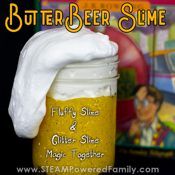 Butterbeer slime recipe using fluffy slime and glitter slime