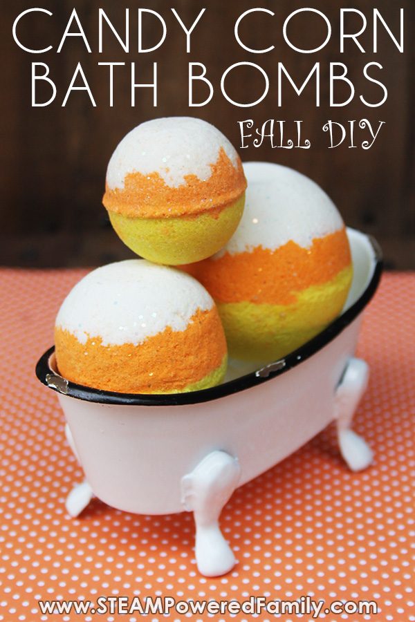Fall science lesson creating Candy Corn inspired Bath Bombs with the kids. A simple, budget friendly Bath Bomb recipe plus a practical chemistry lesson. #FallScience #CandyCorn #BathBombs