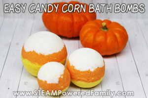 Bath Bomb DIY for fall that is Candy Corn inspired
