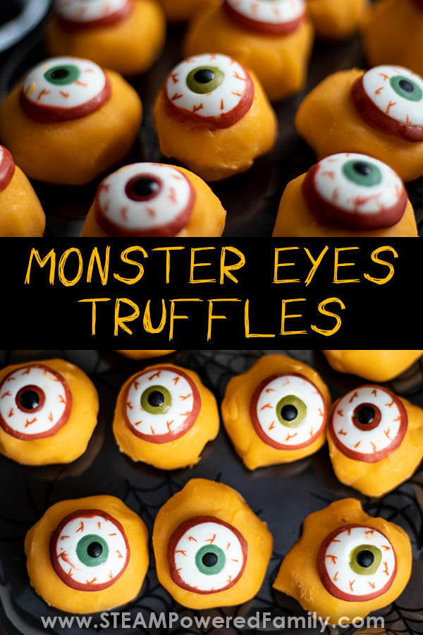 Deliciously Simple Monster Eyes Truffle Recipe For Halloween. This Monster Eyes truffle recipe is ooey, gooey perfection for your Halloween party! So simple to make, it is a fantastic recipe for kids.  #HalloweenRecipe