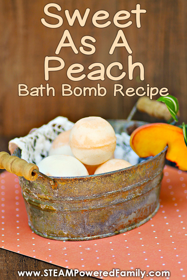 Sweet as a Peach! This easy peach bath bomb recipe smells good enough to eat and is a great chemistry lesson for kids.