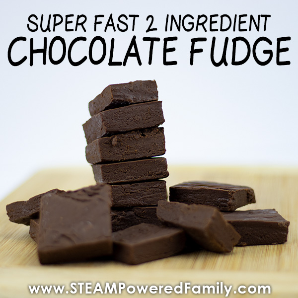 Super fast and easy 2 ingredient chocolate fudge recipe so simple kids can make it