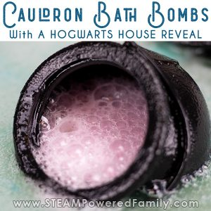 cauldron bath bomb with hogwarts house reveal