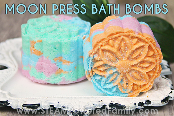Moon press bath bombs are gorgeous little works of art