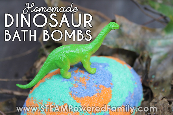 Dinosaur bath bombs shaped like dinosaur eggs and when placed in the bath a surprise inside is revealed, a baby dinosaur!