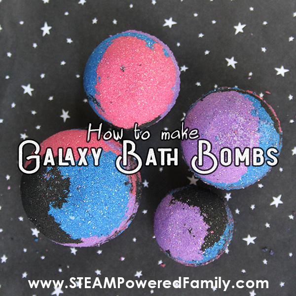 Galaxy Bath Bombs with a science lesson for kids