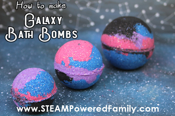 DIY Galaxy Bath Bombs and chemistry lesson for kids