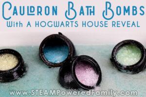 Cauldron bath bombs with Harry Potter theme