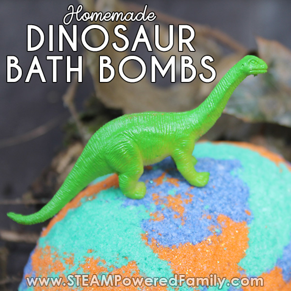 Dinosaur bath bombs made with love for young paleontologists