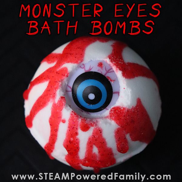 Halloween chemistry lesson Bloody Monster Eye Ball Bath Bombs