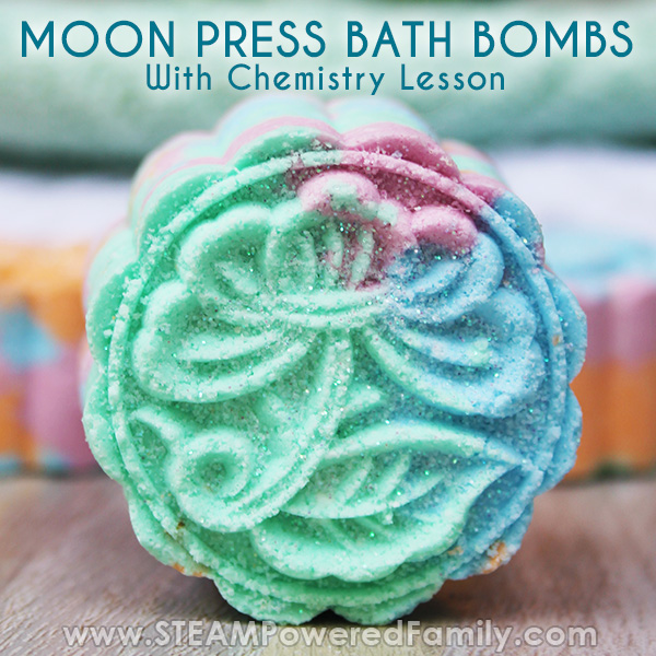 Moon press bath bombs with chemistry lesson