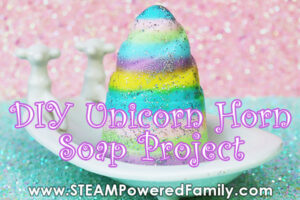 Unicorn horn soap in a tub