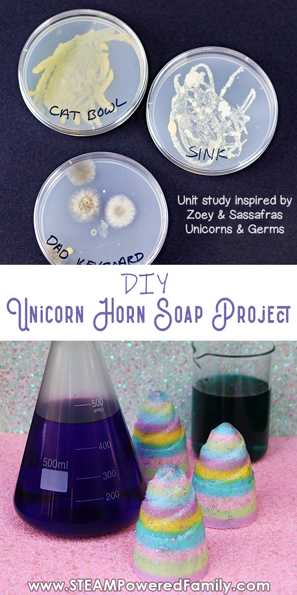 After learning the importance of hand washing with a petri dish study, kids will make a fun unicorn horn soap inspired by Zoey & Sassafras Unicorns & Germs.