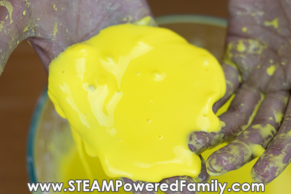 Non-Newtonian Oobleck slime becomes liquid without pressure