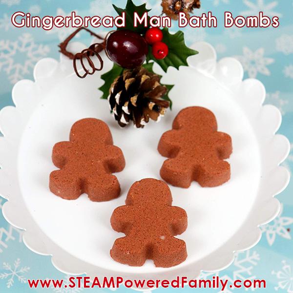 DIY Gingerbread man Christmas Bath Bombs