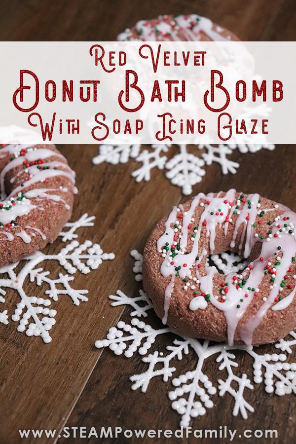 Red velvet donut bath bomb recipe and STEAM activity for kids