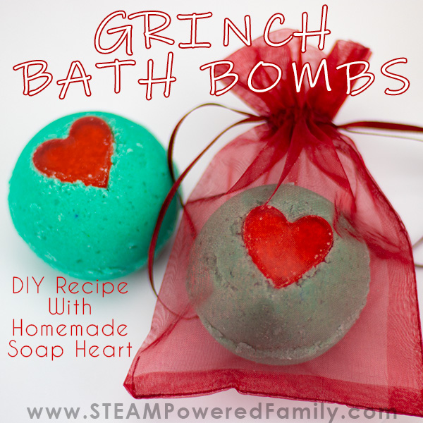 Grinch inspired Christmas Bath Bombs Recipe with a homemade soap heart