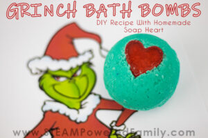 Grinch Christmas Bath Bombs with Soap Heart To Make At Home