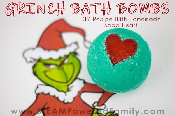Grinch Christmas Bath Bombs With Homemade Soap Heart