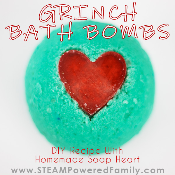 DIY Grinch Christmas Bath Bombs With A DIY Soap Heart