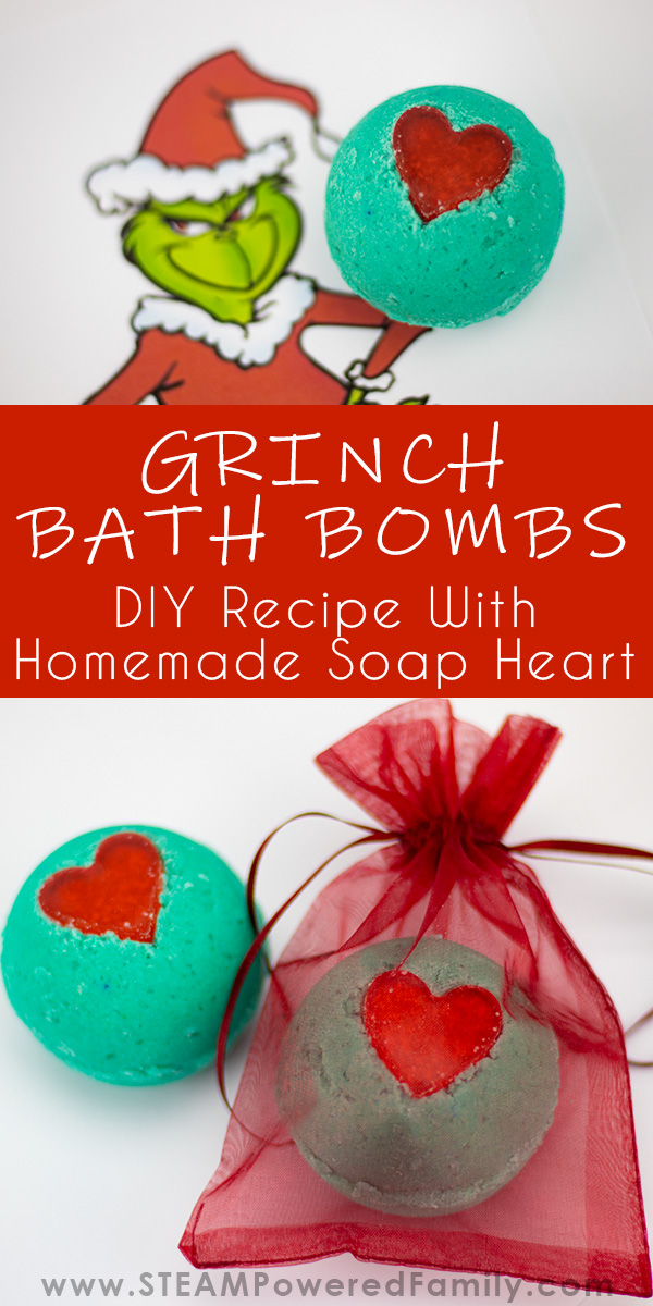 Christmas Bath Bombs inspired by the Grinch with a red soap heart
