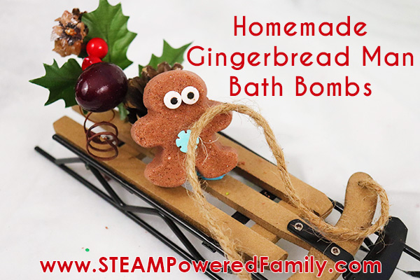 Gingerbread man bath bomb recipe for Christmas