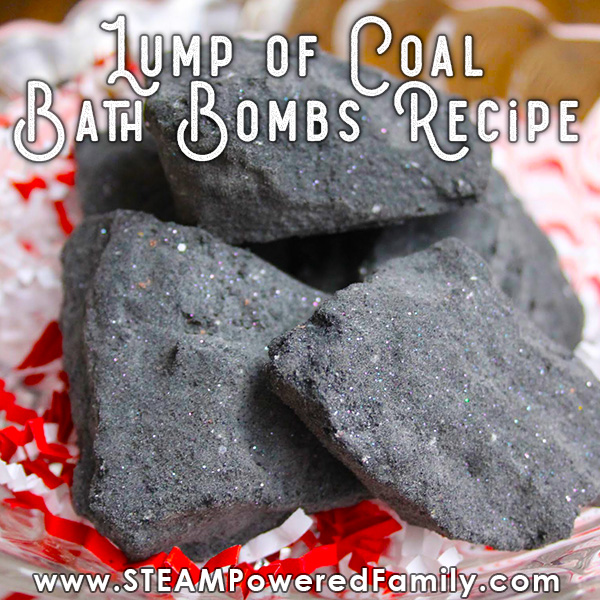 Lump of Coal Bath Bomb Recipe for Christmas