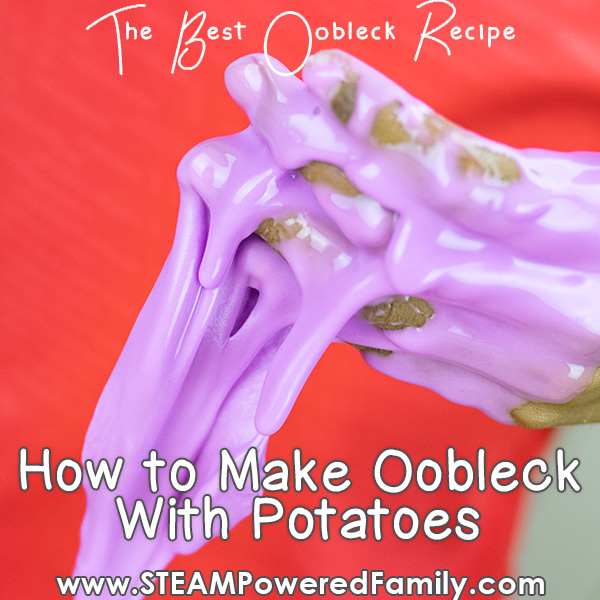 Non-Newtonian fluid Oobleck slime made from potato