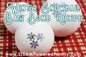 winter bath bomb recipe and science lesson