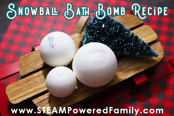 Snowball bath bomb making science project for kids
