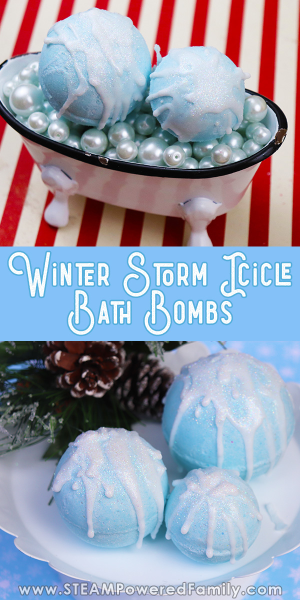 Glittery Winter Storm Bath Bombs