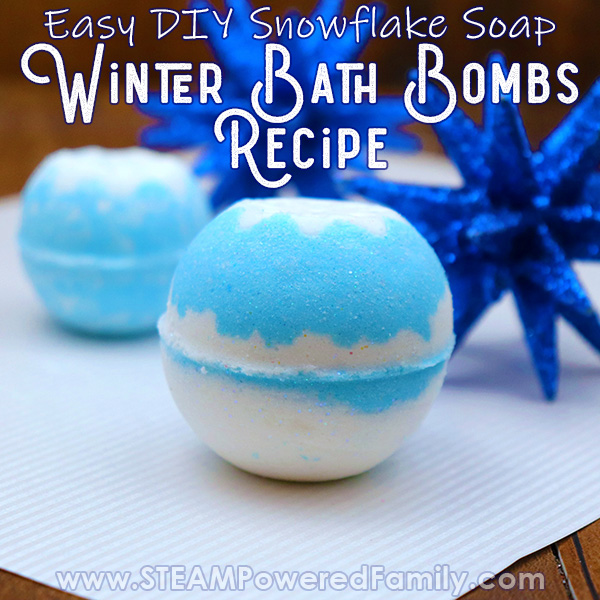 Blue and White Winter Bath Bomb Recipe with Snowflake Soap