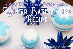 Winter bath bombs with snowflake soap recipe