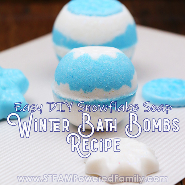 Winter Bath Bombs in blue and white with snowflake soap embedded