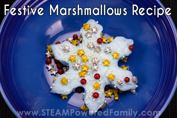 Decorating the homemade marshmallows with candy sprinkles