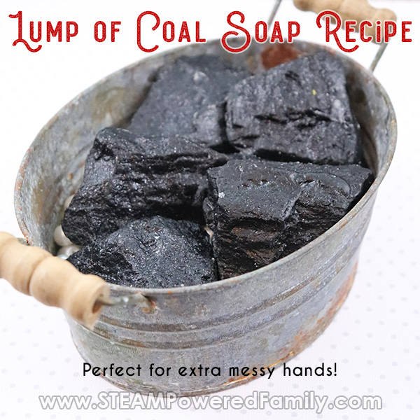 Lump of coal soaps in a bucket