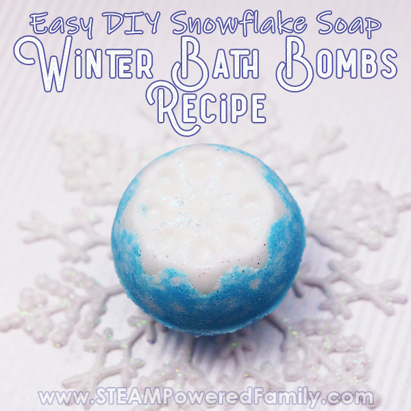 Winter Bath Bomb Recipe with Soap Snowflake