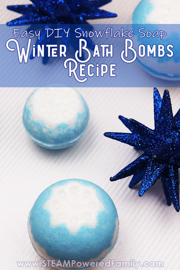 Winter Bath Bombs with snowflake soap