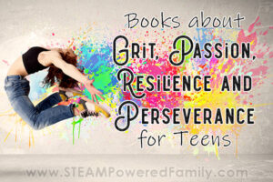 Bookshelf teaching grit, resilience, passion and perseverance