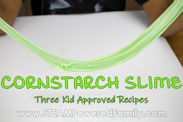 Cornstarch slime made with cornstarch and glue