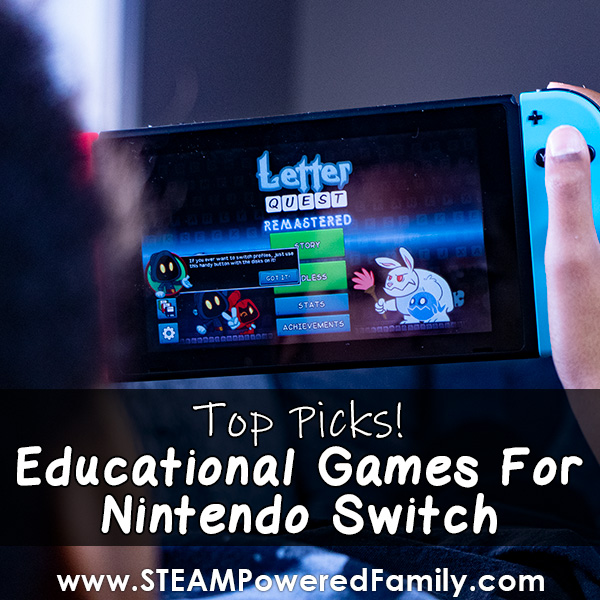 Letter Quest image on Switch Console featuring education games