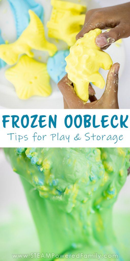Frozen oobleck science experiment with tips for sensory play and storage of oobleck