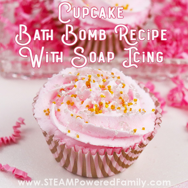 DIY Cupcake Bath Bomb Recipe with soap frosting