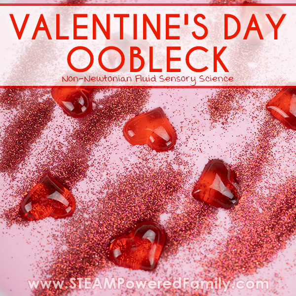 Valentine's Day Oobleck with glitter and hearts