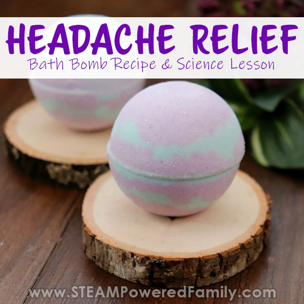 Headache relief bath bombs with real lavender