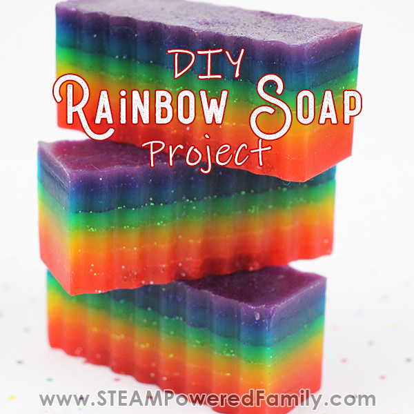 Rainbow soap project to learn colours for kids