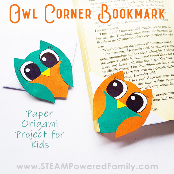 Corner bookmark Origami project for kids